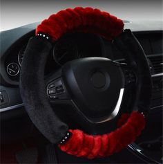 NewLove Universal Fits Most Car Styling Steering Wheel Non Slip Hit Color Stitching Women Cute Plush Car Steering Wheel Cover -- Awesome products selected by Anna Churchill