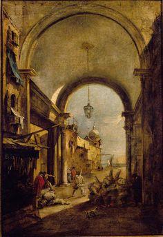 Guardi Francesco - Capriccio con sottoportico e maschere di Pulcinella - 1780-1785 - Accademia Carrara di Bergamo Pinacoteca