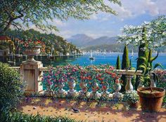 terrace-in-bellagio.jpg [Terrace in Bellagio - 20 x 26 or 30 x 40 Artist Embellished Giclee on Canvas] Tile Murals, Bob Ross, Fine Art Gallery, American Artists, Painting Inspiration, Art Images, Landscape Paintings, Amazing Art, Scenery