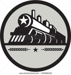 Illustration of a steam train locomotive viewed from front set inside circle with star and leaves done in retro style. #locomotive #retro #illustration