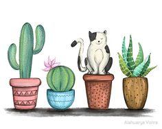 'Cat and Cacti Illustration' Kunstdruck von Aishwarya Vohra – Cactus Art And Illustration, Illustration Cactus, Cactus Cat, Cactus House Plants, Indoor Cactus, Cacti, Cactus Drawing, Cactus Painting, Watercolor Cactus