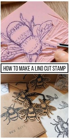 How to make a Lino Cut Stamp #stamp #carving #videos #stampcarvingvideos Stamp Printing, Printing On Fabric, Screen Printing, Stencil Printing, Logo Fleur, Lino Art, Impression Textile, Stamp Carving, Handmade Stamps