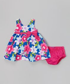 Love this Blue & Pink Floral Bow Dress & Diaper Cover - Infant on #zulily! #zulilyfinds