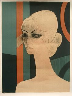 Andre Minaux, French printmaker, lithograph 'Dark-Eyed Model', 1967