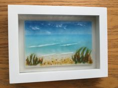 Fused Glass Seascape Beach Frit Glass Painting by AngelasArtGlass