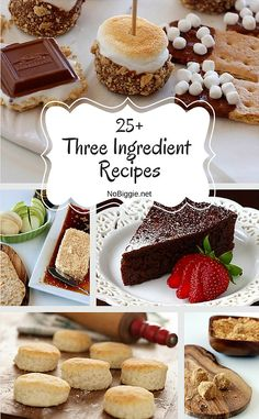 Just three ingredients is all you need to make something delicious! Be inspired by these three ingredient recipes! 5 Ingredient Desserts, Three Ingredient Recipes, Three Ingredient Cookies, Desserts With Few Ingredients, Cookies Ingredients, Dump Cake Recipes, Dessert Recipes, Fudge Recipes, Easy Desserts