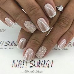 Design de unhas de noiva e casamento fotos de unhas de casamento - Braut Nägel - Bridal nails - Wedding Manicure, Wedding Nails For Bride, Bride Nails, Wedding Nails Design, Wedding Nails Art, Bridal Nail Art, Glitter Wedding Nails, Bridal Toe Nails, Bridal Pedicure
