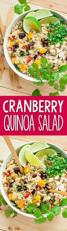 This tasty Cranberry Cilantro Quinoa Salad is super healthy, full of flavor, and ready in just 15 minutes!