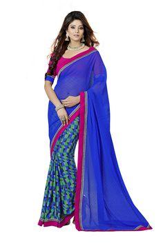 Blue Colour Georgette Designer Printed Saree Buy Apparel