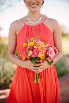 Deep Coral Bridesmaid Dresses