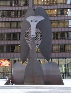 """Pablo Picasso's """"Untitled,"""" Daley Plaza. Chicago's love affair with public art began in 1967, when this 50-foot-tall Cubist sculpture fabricated of black industrial steel was installed in Daley Plaza, eliciting both contemplation and public outrage."""