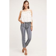 7 For All Mankind Ankle Straight Jeans ($199) ❤ liked on Polyvore featuring jeans, indigo stripe, super skinny jeans, skinny straight jeans, stripe skinny jeans, indigo jeans and skinny fit jeans