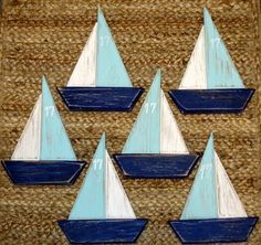 Items similar to Sailboat Magnets & Ornaments Nautical Decor - Reclaimed Wood on Etsy Sailboat Decor, Wooden Sailboat, Lake Decor, Coastal Decor, Hamptons Decor, Wooden Rabbit, Beach Crafts, Driftwood Art, Wood Pallets