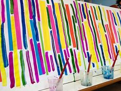 traits-verticaux-2 Glitch Art, Painting For Kids, Art For Kids, Trait Vertical, Polymer Clay Painting, Petite Section, Kindergarten, Mondrian, Hallway Decorating