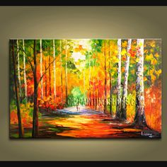 Elegant Designed Palette Knife wall art Park oil painting on canvas. This painting has been stretched on wooden bar and custom framed by a speciali Large Abstract Wall Art, Modern Canvas Art, Contemporary Wall Art, Large Wall Art, Modern Oil Painting, Modern Art Paintings, Abstract Paintings, Panel Wall Art, Canvas Wall Art