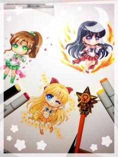Second set of Sailor Moon chibis I've done this week. Sailor Jupiter, Sailor Mars and Sailor Venus #fanart