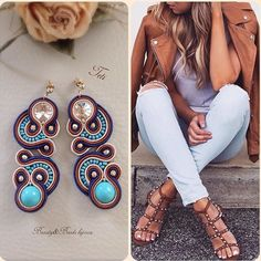 Beautiful combination of blue and brown, soutache earrings Types Of Embroidery, Beaded Embroidery, Jewelry Accessories, Jewelry Design, Soutache Jewelry, Diy Earrings, Shibori, Charm Jewelry, Jewerly