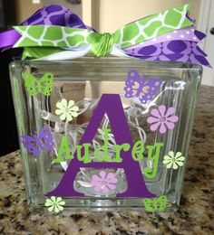 Items similar to Personalized Monogrammed Glass Block Light on Etsy Glass Cube, Glass Boxes, Glass Jars, Decorative Glass Blocks, Lighted Glass Blocks, Vinyl Crafts, Vinyl Projects, Craft Gifts, Diy Gifts