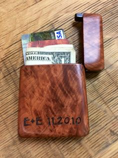 A personal favorite from my Etsy shop https://www.etsy.com/listing/271059031/wood-wallet-card-holder-redwood-burl