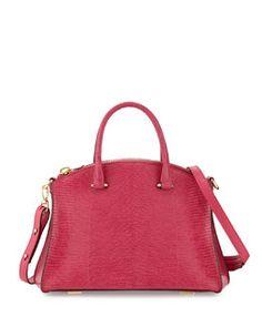 Trevi 32 Lizard Satchel Bag, Blush Pale Pink