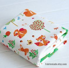 Cartoon Kids Fabric Cute Bird Fox Squirrel Cotton by fabricmade, $7.20