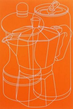 """Michael Craig-Martin, Untitled (orange on ArtStack This exemplifies his desire for the objects to be """"as impersonal and style-less as possible"""", yet ironically, absolutely what we now associate with his style. Outline Art, Outline Drawings, Michael Craig, Still Life Artists, A Level Art, Gcse Art, Textiles, Everyday Objects, Art Club"""