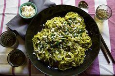 Charred Poblano Pesto Pasta Recipe // Aida Mollenkamp // Pairs Well With Food #summer #vegetarian