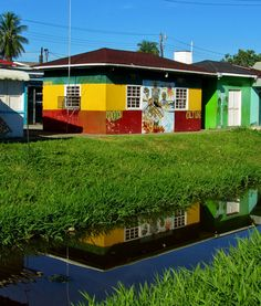House in Georgetown, Guyana, painted in the colors of the flag of Guyana. Georgetown is the capital of Guyana, and is  nicknamed the 'Garden City of the Caribbean.'