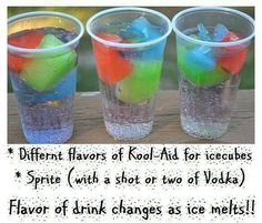 Summer Grown up party: vodka sprite with kool aid ice cubes (save some of the cubes for the kids) ;-)
