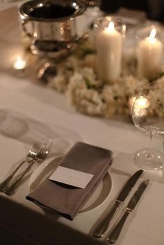 Grey linen napkins and white card served as the place settings.