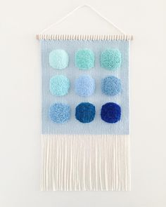 """""""Colour Study: Blue Circle"""" is now online. Have a great weekend everyone! Weaving Textiles, Weaving Art, Loom Weaving, Tapestry Weaving, Hand Weaving, Macrame Wall Hanging Patterns, Weaving Wall Hanging, Bedroom Crafts, Peg Loom"""