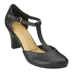 """Love the Rebelle? Easy Spirit's new dress shoes features a T-strap with adjustable buckle and stretch panel on the side for an easy, comfortable fit. It has a cushioned insole for added comfort and foot-flattering almond shaped toe with tailored detailing for added style. These incredibly comfortable shoes are available in medium widths and wide widths. 2 1/2"""" high heels."""