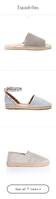 """""""Espadrilles"""" by iris913 ❤ liked on Polyvore featuring shoes, sandals, flats, flat heel sandals, rubber sole sandals, flat pumps, slip-on shoes, flat slip on shoes, white and white block-heel sandals"""