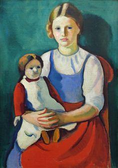 August Macke - Blondes Mädchen mit Puppe, 1910