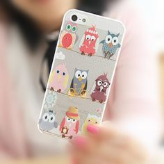 Cute Owl iPhone 5/5S Clear Slim Hard Cell Phone Case by ATHiNGZ, $8.99