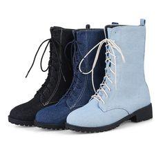 46fb32e7b Lace Up Warm Fur Lining Mid Calf Winter Boots For Women. Botas De Neve  MulheresDenim ...
