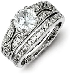 2-Piece Silver Milgrain CZ Engagement Wedding Ring Set