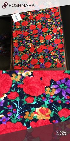 NWT L LLR Cassie Skirt Gorgeous floral skirt with deep navy background and red, purple and golden yellow fabric. Very stretchy with a slight texture. LuLaRoe Skirts Pencil