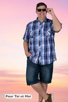 Style et classe pour une collection homme grande taille de XL à 8XL. #vêtements #shorts #xxl Button Down Shirt, Men Casual, Shorts, Mens Tops, Collection, Style, Fashion, Mens Big And Tall, Plus Sized Clothing