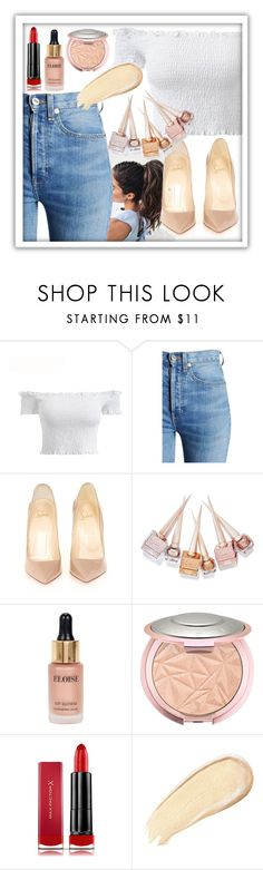 """""""Untitled #67"""" by christina-lapera ❤ liked on Polyvore featuring RE/DONE, Christian Louboutin, Eloise, Max Factor, modern, cute, jeans and glam"""