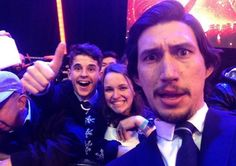 Adam Driver with fans at the Star Wars premiere.