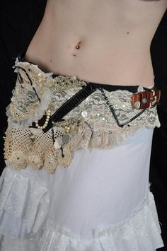 Tattered zombie lace belt or waist cincher tribal goth or steampunk ON SALE