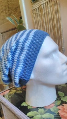Crochet Beanie Hat Crochet Slouch Hat by RescuedandRevamped