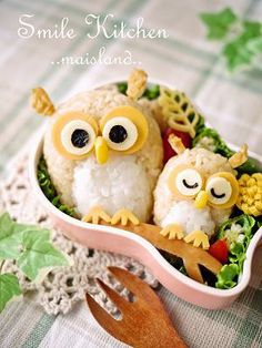 i love cute owls! I don't think Mike could eat this much rice but maybe one of them with some curry or chili.