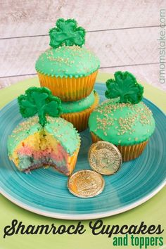 These adorable shamrock cupcakes are a perfect food for St Patricks Day holidays. Fill the center with rainbow cake filling and make these DIY cute sprinkles clover topper.