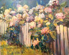 "Catherine Elliott   ""Hydrangea with Pickett Fence"" 24x 30, oil on canvas"