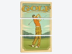 """Man Cave Collection: Bad Day At Golf vs Good Day At Work by Anderson Design Group Canvas Print 40"""" L x 60"""" H x 0.75"""" D"""