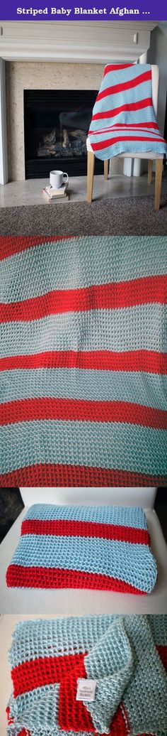 Striped Baby Blanket Afghan Throw Crochet - Sky Blue and Red - Ready To Ship. This baby afghan is ready to ship! No waiting for it to be made! Makes a great last minute gift! Why are my blankets different than most? Their high-quality craftsmanship and design. I carefully design and create each afghan myself, delicately making it stitch by stitch using the softest, warmest yarn available. The result is a luxurious afghan that will be a favorite in your home for a very long time. My modern...