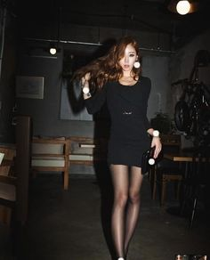 Black Long Sleeves Wrinkled Round Neck Asian Fashion Sexy Fitted Dress - $56.88 Korean Fashion Summer, Asian Fashion, Mini Skirts, Mini Dresses, Asian Woman, Long Sleeve, Sexy, Sleeves, Hosiery