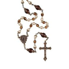 Czech Crystal Amber and Gold Renaissance Rosary | The Catholic Company